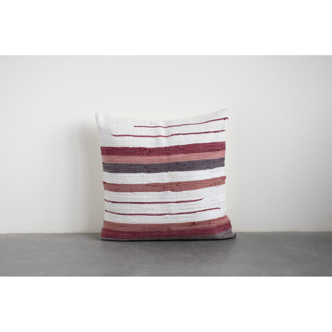 Square Striped Woven Cotton Blend Chindi Pillow