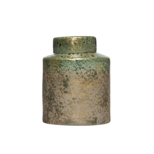 9.75H Decorative Stoneware Ginger Jar with Lid & Iridescent Reactive Glaze Finish Each one will vary