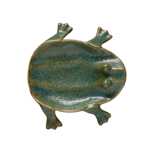 Decorative Footed Frog Dish with Reactive Glaze Finish (Each one will vary) Default Title