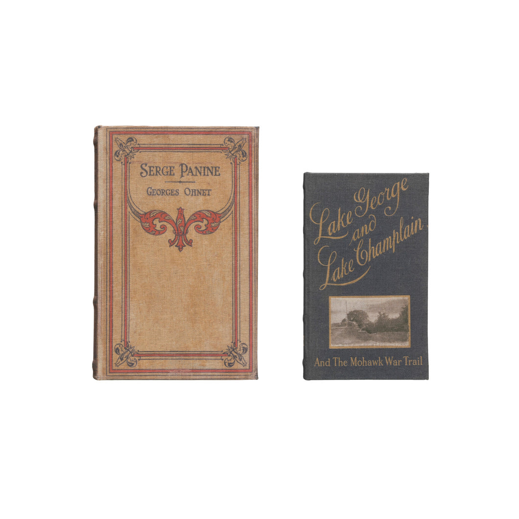 Vintage Reproduction Canvas & Wood Book Boxes with Hidden Storage (Set of 2 Sizes/Patterns) Default Title