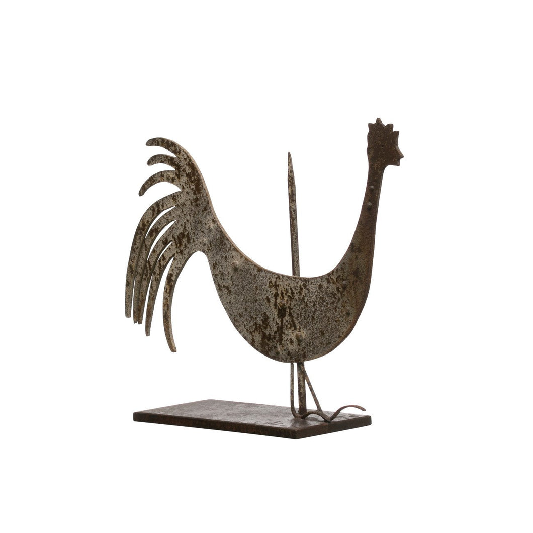 Metal Vintage Reproduction Rooster Weather Vane with Heavily Distressed Finish (Each one will vary)