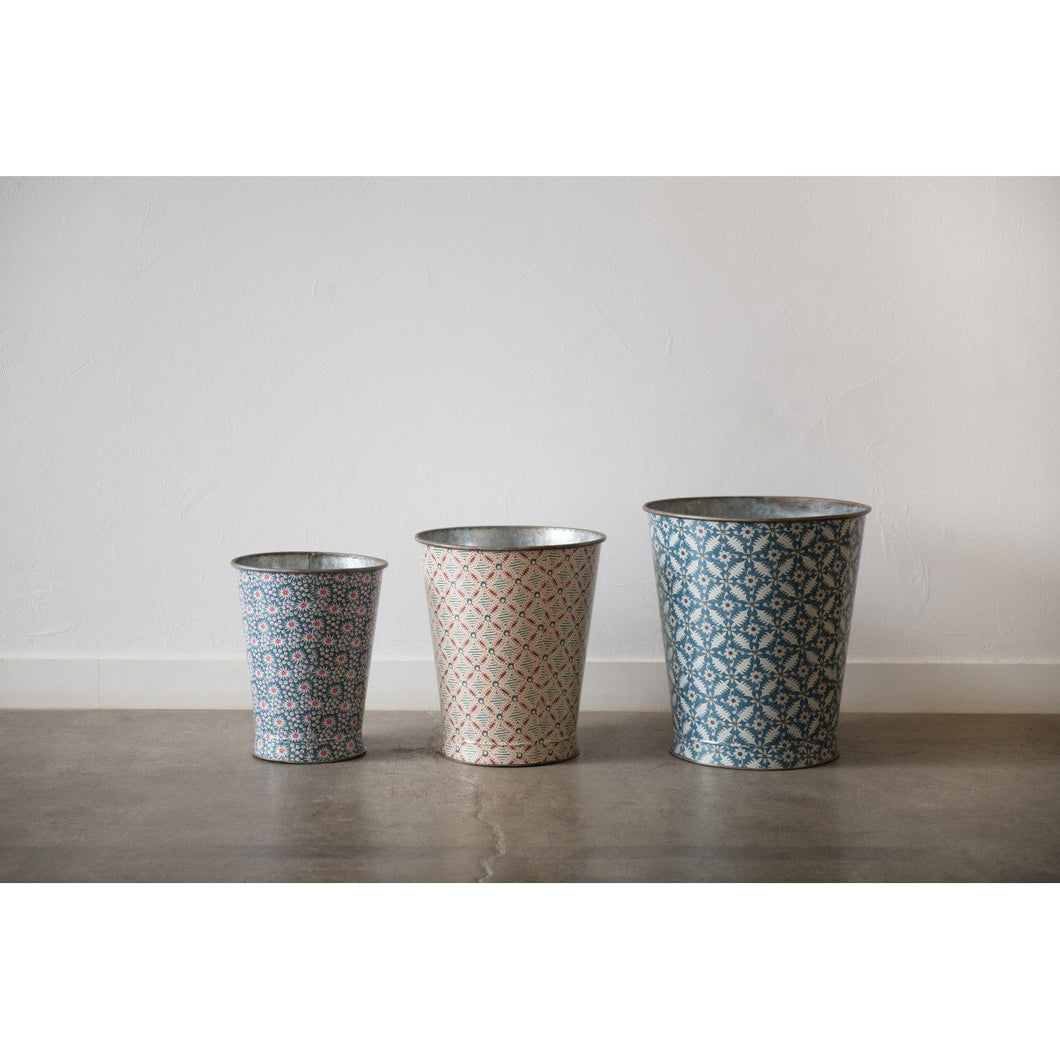 Large Decorative Metal Buckets with Varied Patterns (Set of 3 Sizes/Patterns)