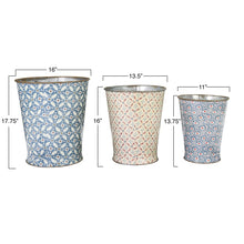 Load image into Gallery viewer, Large Decorative Metal Buckets with Varied Patterns (Set of 3 Sizes/Patterns)