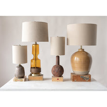 Load image into Gallery viewer, Terracotta Table Lamp with Metallic Glaze & Linen Shade