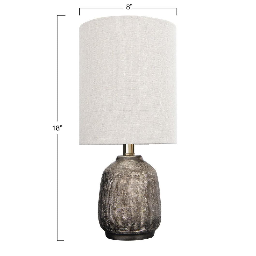 Terracotta Table Lamp with Metallic Glaze & Linen Shade