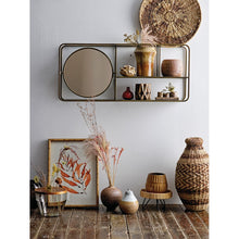 "Load image into Gallery viewer, 39.5""W Metal Framed Mirror with 2-Tier Wall Shelf"