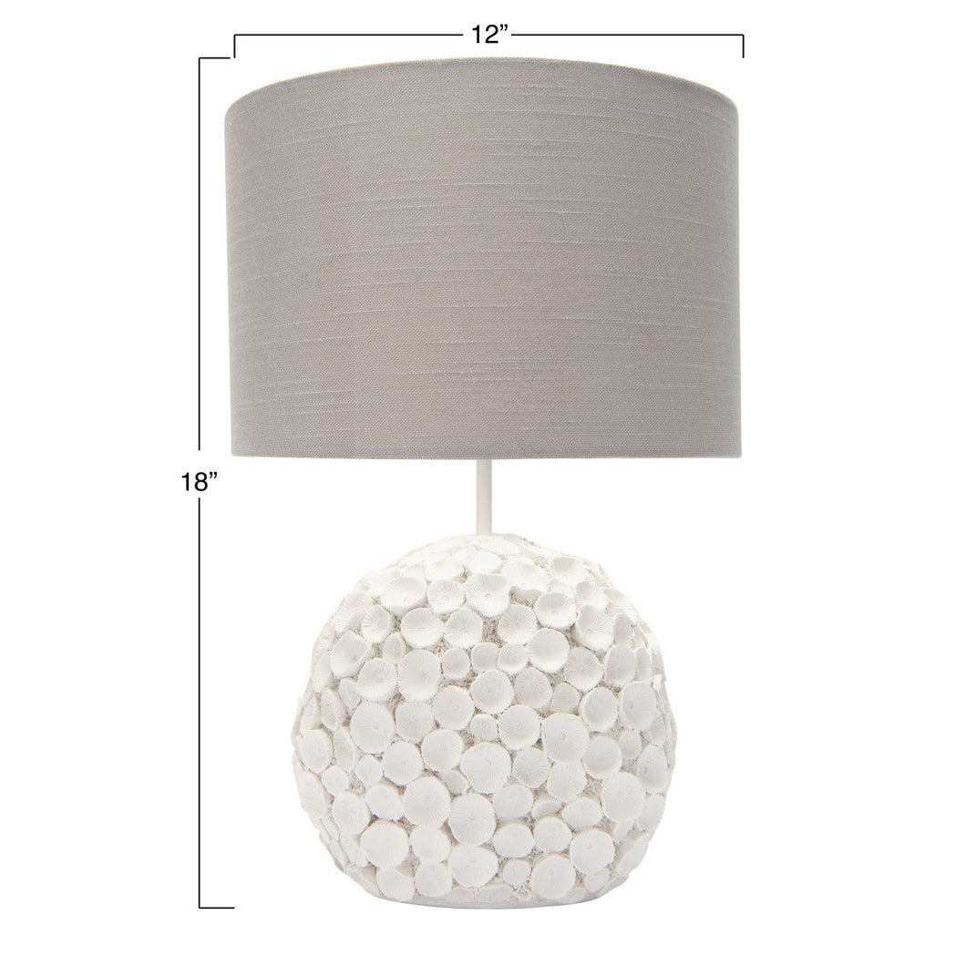 Resin Table Lamp with Linen Shade & Distressed Finish