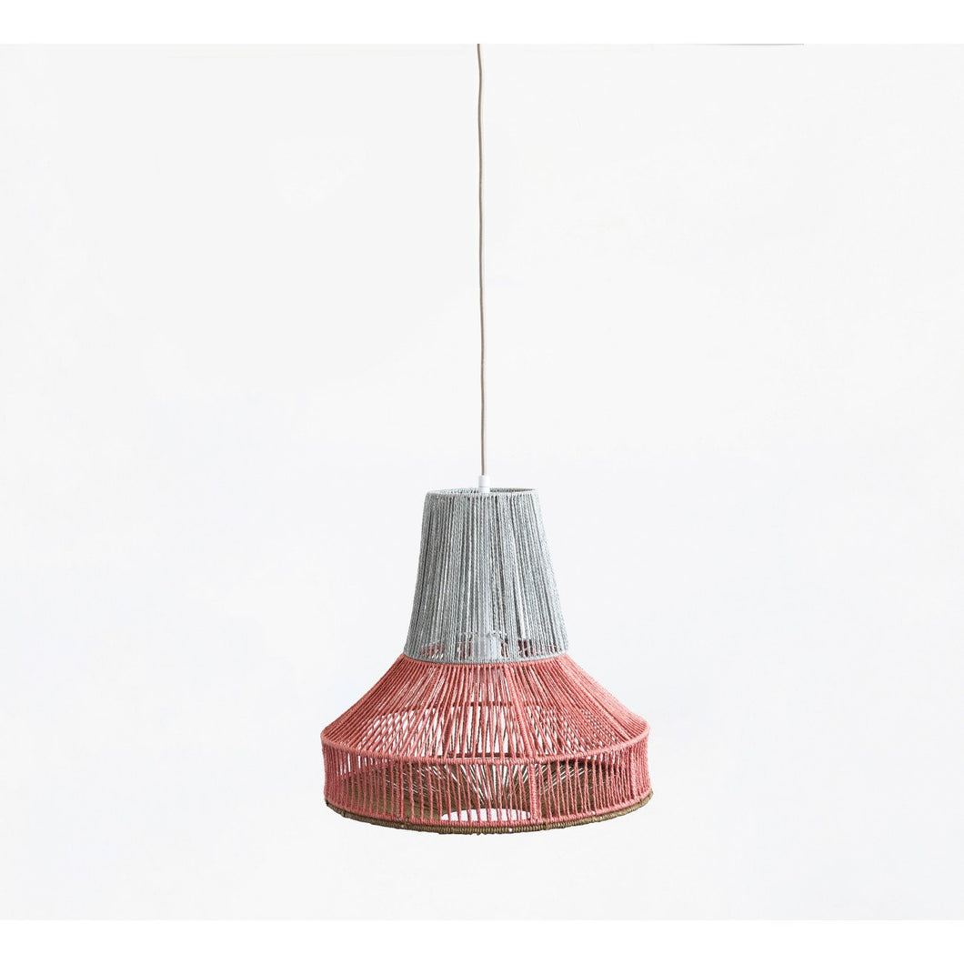 Two-Tone Cotton String Pendant Light with 10' Cord (Hardwire Only)