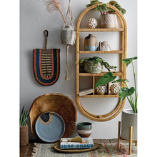 "Load image into Gallery viewer, 42""H Oval Rattan Wrapped Wall Shelf with 6 Compartments (Hangs Vertical or Horizontal)"
