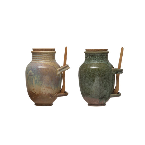 Vintage Reproduction Stoneware Olive Jar with Reactive Glaze Finish, Cork Lid & Wood Tongs Set of 2 Colors/Each one will vary