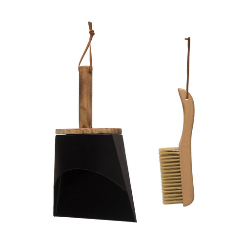 Metal Dust Pan with Beech Wood Handle, Beech Wood Brush & Leather Straps (Set of 2 Pieces) Default Title