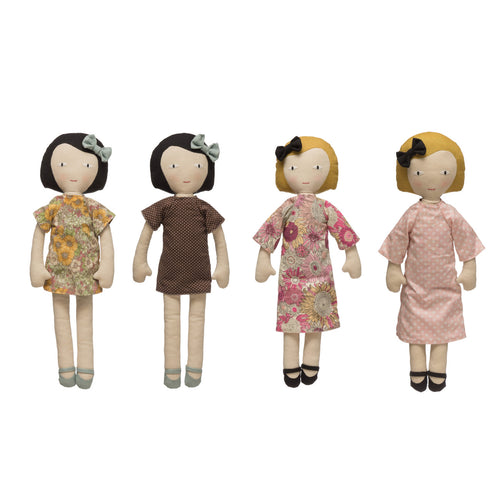 Plush Fabric Girl Doll with Reversible Dress (Set of 2 Styles) Default Title