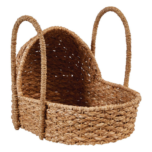 Handwoven Seagrass Doll Bassinet with Handles