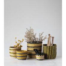 Load image into Gallery viewer, Handwoven Seagrass Striped Baskets (Set of 5 Sizes/Patterns)