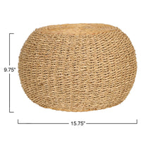 "Load image into Gallery viewer, 10""H Handwoven Seagrass & Water Hyacinth Pouf/Pedestal"