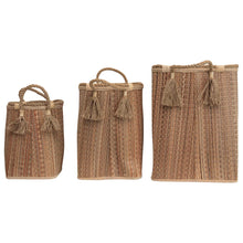 "Load image into Gallery viewer, 14.25"", 18"" & 22"" Handwoven Seagrass Baskets with Handles & Tassels (Set of 3 Sizes)"