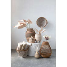 "Load image into Gallery viewer, 17"" & 20.5"" Woven Bamboo & Water Hyacinth Baskets with Whitewashed Finish & Handles (Set of 2 Sizes)"