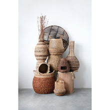 "Load image into Gallery viewer, 14"" Handwoven Wicker Vegetable Basket with Lid"
