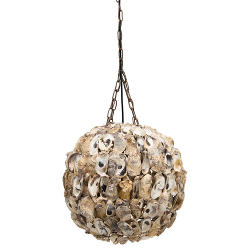 Round Oyster Shell Pendant Light with 6' Chain & 8' Cord Hardwire Only