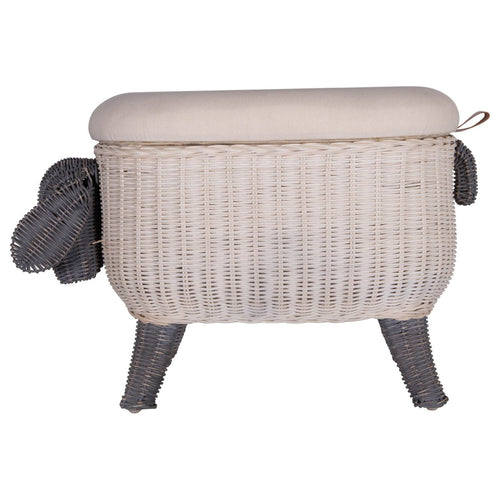 Sheep-Shaped Rattan Woven Stool with Upholstered Lid & Storage Lining