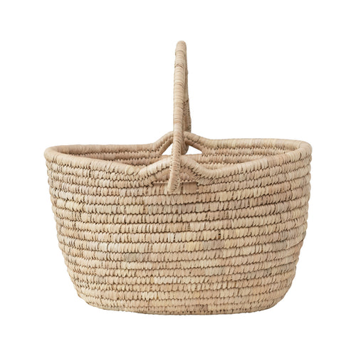 Hand-Woven Grass and Date Leaf Basket with Handle Default Title