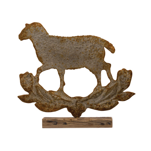 Embossed Metal Distressed Finish Sheep on Wood Base Default Title
