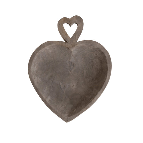 Decorative Wood Heart Shape with Heart Shaped Handle Gray Wash Tray Default Title