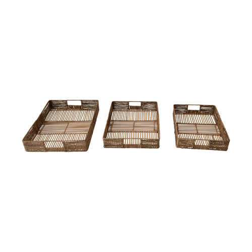 Hand-Woven Decorative Bamboo and Jute Trays with Handles, Set of 3 Default Title