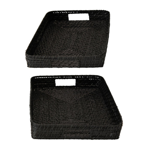 Hand-Woven Decorative Bamboo Black Trays, Set of 2 Default Title