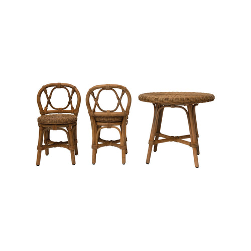 Rattan Children's Table & 2 Chairs, Set of 3 Default Title