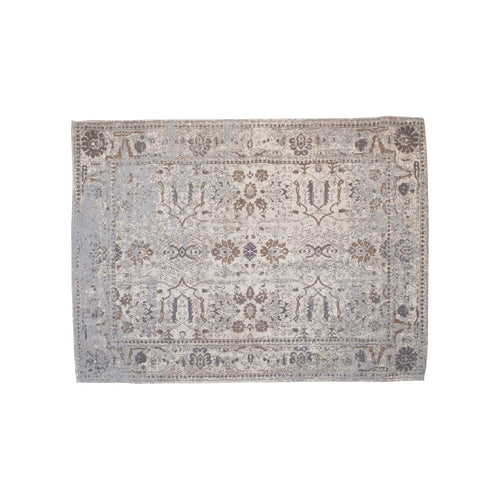 Distressed Finish Woven Cotton Printed Rug Default Title