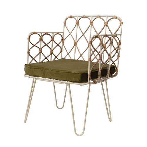 Metal & Rattan Chhair with Olive Velvet Cushion Default Title