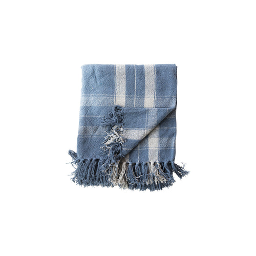 Plaid Blue Woven with Fringe Recycled Cotton Blend Throw Default Title