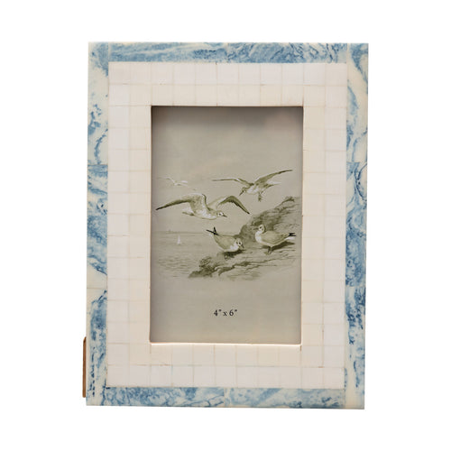6.5 in x 8.5 in  Wood and Resin Blue and Ivory Photo Frame Default Title