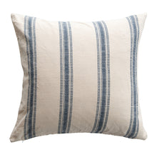 Load image into Gallery viewer, Square Striped White & Blue Woven Cotton Pillow Default Title