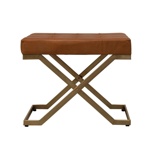 Tufted Leather Stool with Metal Legs Default Title