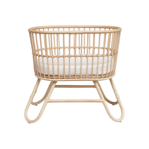 Hand-Woven Rattan Doll Bassinet with Cushion Default Title