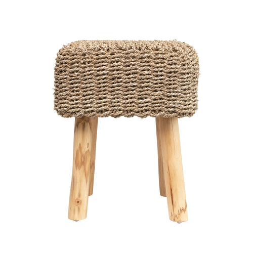 Hand-Woven Seagrass Stool with Wood Legs, Natural Default Title