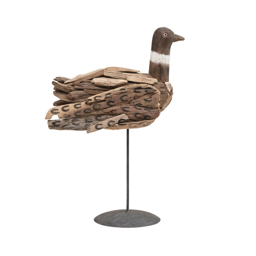 Hand-Painted Vintage Reproduction Driftwood Bird on Metal Stand (Each One Will Vary) Default Title
