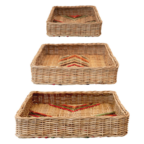 Decorative Hand-Woven Rattan Trays with Stitching, Multi Color, Set of 3 Default Title