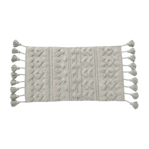 Cotton Tufted Rug with Tassels, Grey Default Title