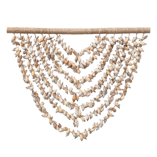 Handmade Shell Wall Hanging with Wood Hanger Default Title