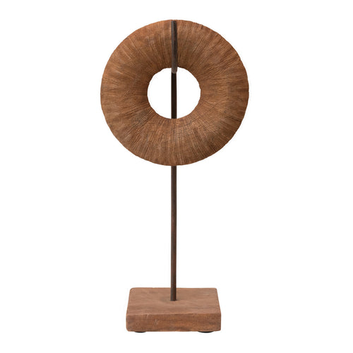 Hand-Carved Mango Wood Circle Object on Metal & Wood Stand, Set of 2 Default Title