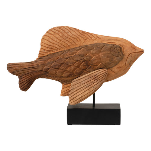 Hand-Carved Mango Wood Fish on Metal Stand (Each One Will Vary) Default Title