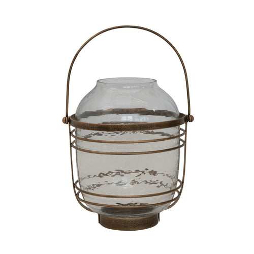 Metal & Glass Lantern with Handle, Antique Brass Finish Default Title