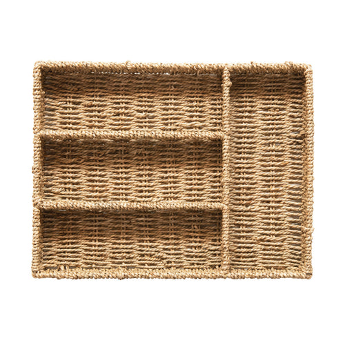 Hand-Woven Seagrass Tray with 4 Sections, Natural Default Title