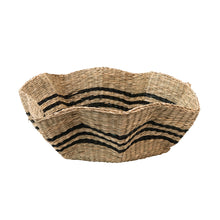 Load image into Gallery viewer, Hand-Woven Scalloped Seagrass Basket with Black Stripes Default Title