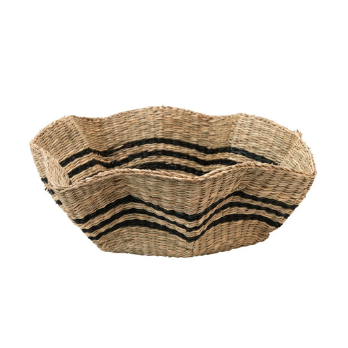 Hand-Woven Scalloped Seagrass Basket with Black Stripes Default Title