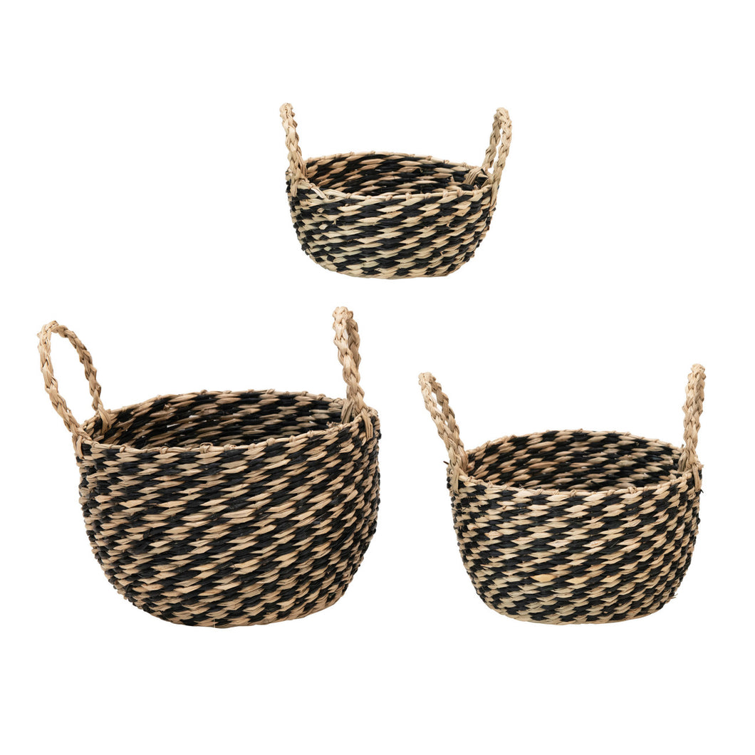 Hand-Woven Seagrass Baskets with Handles, Black & Natural, Set of 3 Default Title