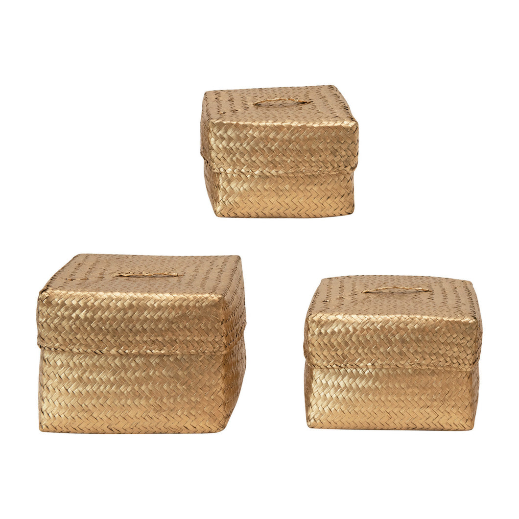 Hand-Woven Seagrass Baskets with Lids, Gold Color, Set of 3 Default Title